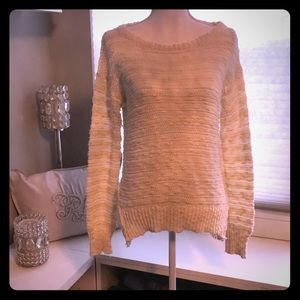 Off White Knit Sweater with Lace Accents